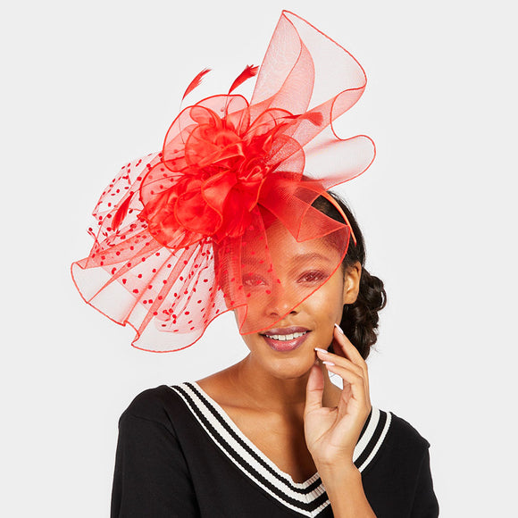Scalloped Blossom Derby Hat w/Headband - 3 Colors