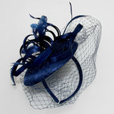 Tailfeather and Lace Derby Hat w/Headband - 11 Colors