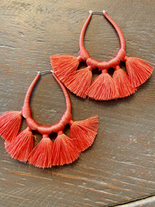 Threaded Loops and Tassel Earrings (Coral)