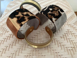 Silk and Leather Leopard Cuff