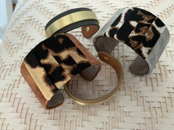 Bars of Gold Leather Cuff