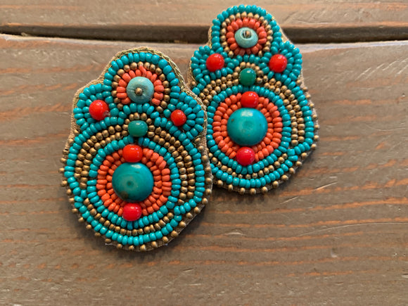 Musky River Earrings (Turquoise/Orange)