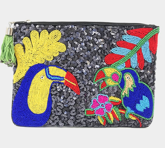 Beaded Birds of Paradise Clutch (Sequin)