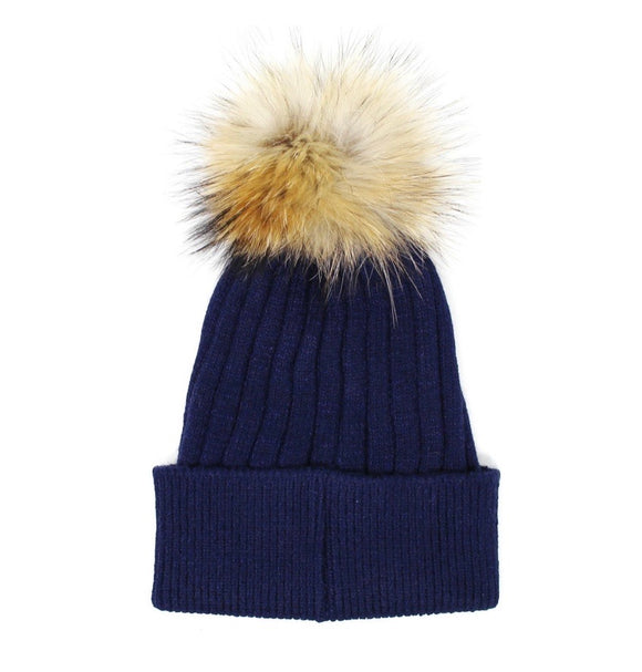 Solid Fur Pompom Hat