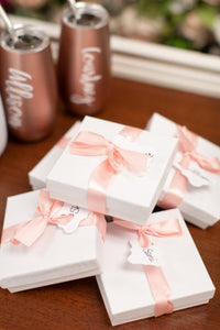So Blessed Designs gift boxes wrapped for bridal party