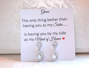maid of honor earrings on personalized jewelry card