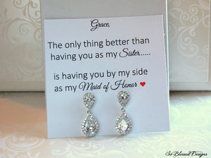 Thank you gift to sister for being maid of honor earrings