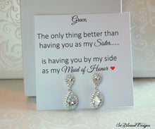 Maid of Honor sister earrings