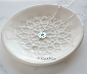 925 sterling silver compass charm necklace
