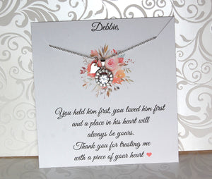 mother of the bride card with necklace