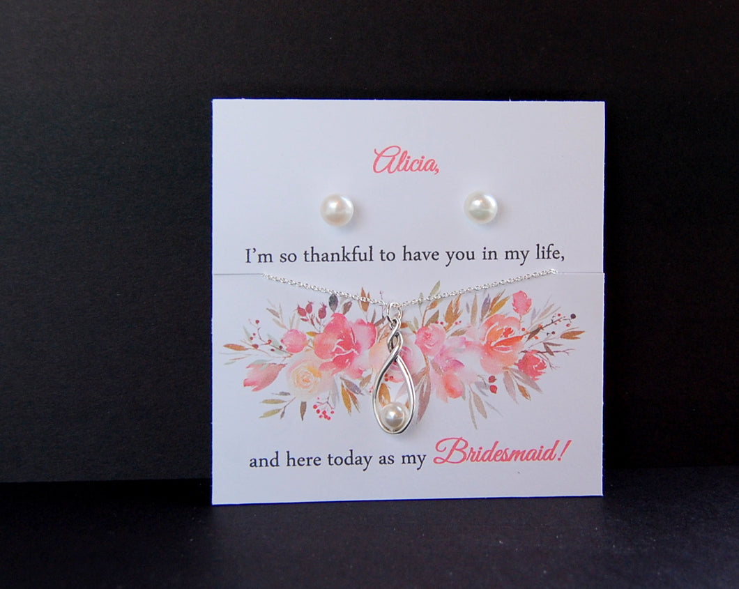 pearl earrings and necklace for bridesmaids