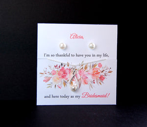 earrings and necklace set for bridal party