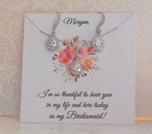 personalized bridesmaid gift earrings necklace