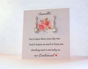 thank you bridesmaid card with earrings