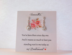 Bridesmaid card with cubic zirconia earrings
