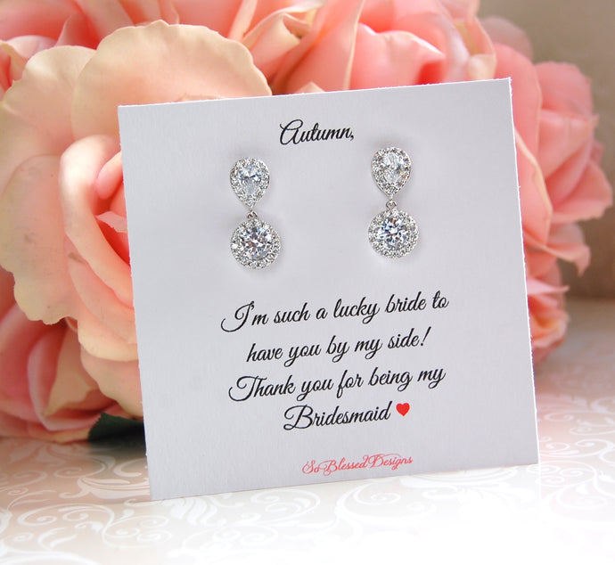 bridesmaid earrings with personalized jewelry card