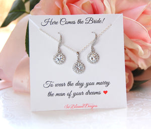 bridal jewelry set necklace and earrings