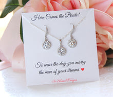 Wedding jewelry set CZ earrings and necklace