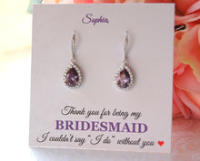 Personalized bridesmaid card I couldnt say I do without you earrings