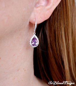 lady wearing purple teardrop bridesmaid earrings