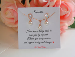 Rose Gold Bridesmaid Jewelry Set