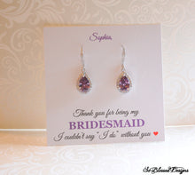 bridesmaid gift with purple earrings on custom card