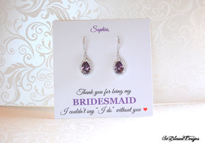 personalized bridesmaid card with purple earrings