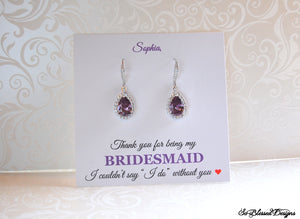 purple amethyst bridesmaid earrings on personalized card