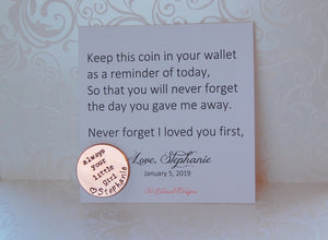 Father of bride coin gift from daughter