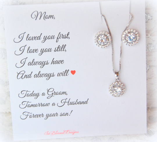 Silver Solitaire earrings and necklace set for mother of the groom