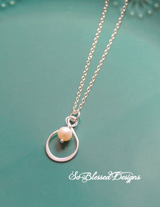 Stering silver infinity pearl necklace pendant