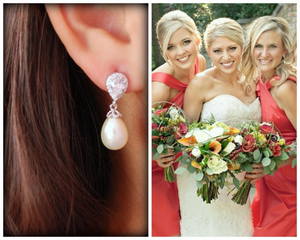 Bride with her bridesmaids wearing pearl and CZ drop earrings