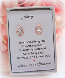 Rose gold teardrop earrings on will you be my bridesmaid card