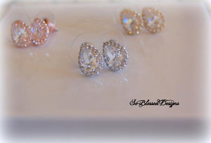 silver rose gold and gold bridesmaid teardrop earrings