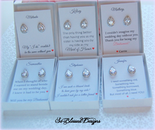 Set of 6 Bridesmaids earrings personalized cards thank you for being my bridesmaid