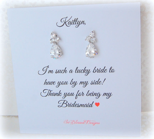 Thank you Earrings Gift for Bridesmaids - So Blessed Designs