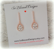 Rose Gold and cubic zirconia teardrop earrings for Bride