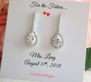 Long Silver Teardrop earrings with for the future Mrs jewelry card