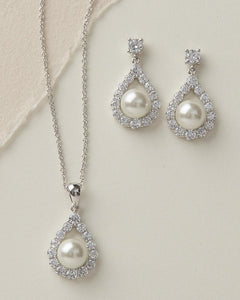 Bridesmaid Jewelry Set pearl and cubic zirconia earrings and necklace