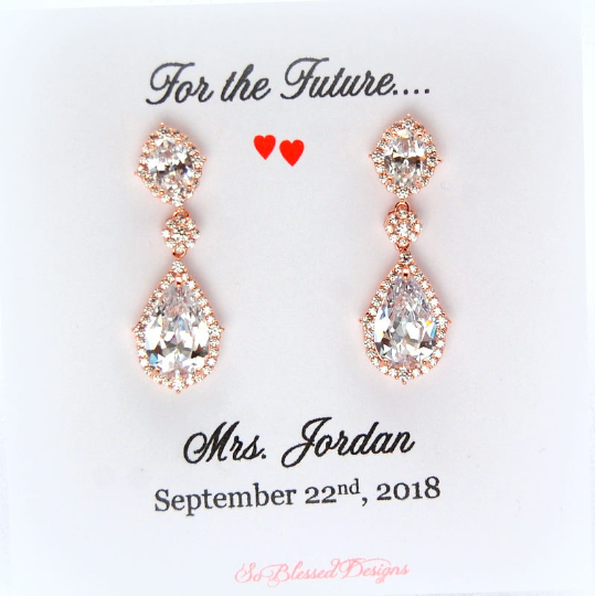 Long Elegant Bridal Earrings in Rose Gold displayed on For the future Mrs jewelry card