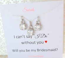 Square CZ Earrings and Necklace set for Bridesmaids