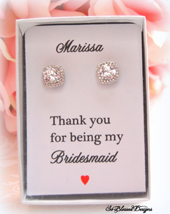 Square cubic zirconia bridesmaid earrings