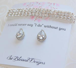 Cubic zirconia earrings and bracelet on card I couldnt say I do without you card