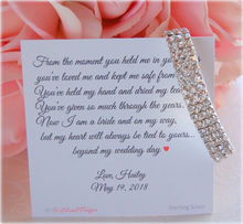 cubic zirconia bracelet displayed on mother of the bride jewelry card