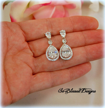 sterling silver and cubic zirconia bridal drop earrings