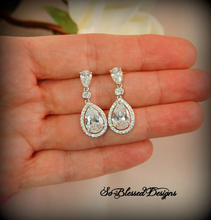 teardrop bridal earrings in silver for bride
