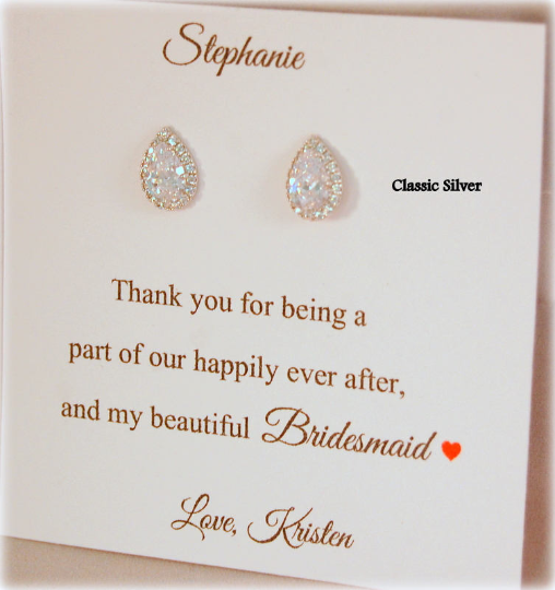 Custom jewelry display card with teardrop earrings Thank you for being my Bridesmaid