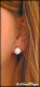 Bridesmaid earrings in silver cz square setting
