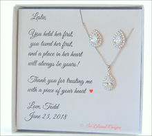 CZ earrings necklace set designed for mother of the groom