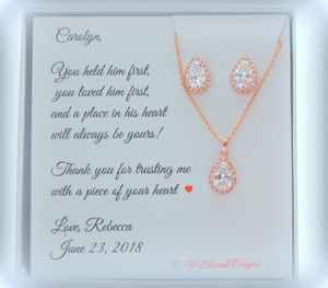 Rose gold Mother of the Groom or Mother of the Bride Jewelry Set earrings and necklace